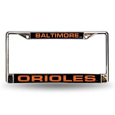 MLB Black Insert Laser-Cut Chrome License Plate Frame - Orioles