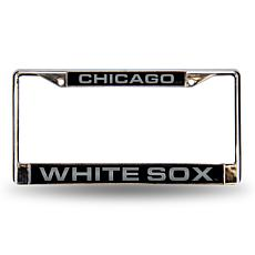 MLB Black Insert Laser-Cut Chrome License Plate Frame - White Sox