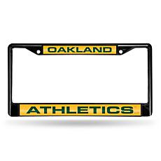MLB Black Laser-Cut Chrome License Plate Frame - A's