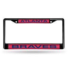 MLB Black Laser-Cut Chrome License Plate Frame - Braves