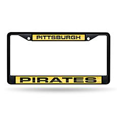 MLB Black Laser-Cut Chrome License Plate Frame -  Pirates