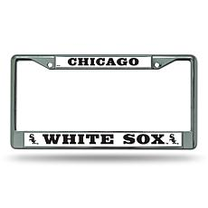 MLB Block Letters Chrome License Plate Frame -White Sox