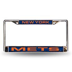 MLB Blue Laser-Cut Chrome License Plate Frame - Mets