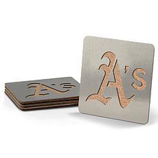 MLB Boasters 4-piece Coaster Set - Oakland Athletics