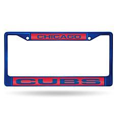 MLB Colored Laser-Cut Chrome License Plate Frame -  Cubs