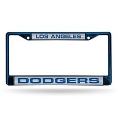 MLB Colored Laser-Cut Chrome License Plate Frame -  Dodgers