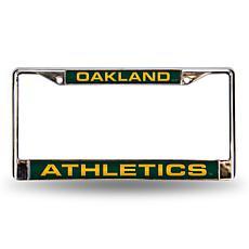MLB Green Laser-Cut Chrome License Plate Frame - A's
