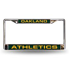 MLB Green Laser-Cut Chrome License Plate Frame - A's