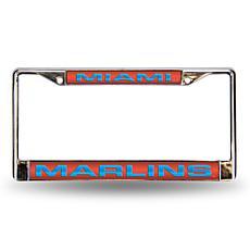 MLB Laser-Cut Chrome License Plate Frame - Marlins