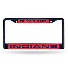 MLB Navy Laser-Cut Chrome License Plate Frame -  Indians