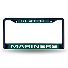 MLB Navy Laser-Cut Chrome License Plate Frame -  Mariners