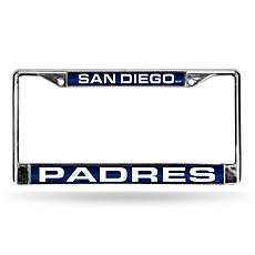 MLB Navy/White Laser-Cut License Plate Frame-Padres