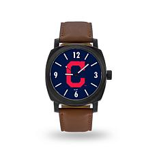 "MLB Sparo ""Knight"" Faux Leather Watch - Indians"