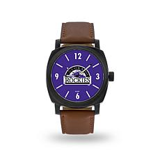 "MLB Sparo ""Knight"" Faux Leather Watch - Rockies"