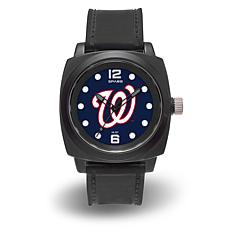 "MLB Sparo Team Logo ""Prompt"" Black Strap Sports Watch - Nationals"