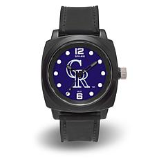 "MLB Sparo Team Logo ""Prompt"" Black Strap Sports Watch - Rockies"