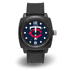 "MLB Sparo Team Logo ""Prompt"" Black Strap Sports Watch - Twins"