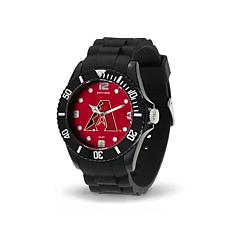 "MLB Team Logo ""Spirit"" Black Rubber Strap Sports Watch - Diamondbacks"