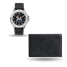 MLB Team Logo Watch and Wallet Combo Gift Set in Black - Marlins