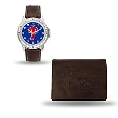 MLB Team Logo Watch and Wallet Combo Gift Set in Brown - Phillies