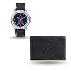 MLB Team Logo Watch and Wallet Set in Black - Angels