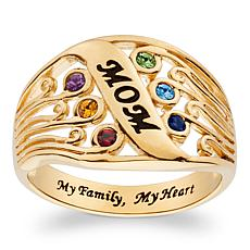 """Mom"" Family Birthstone Ring"