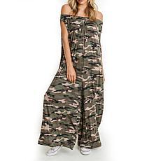 Mono B Camouflage Off-Shoulder Gaucho Drape Jumpsuit