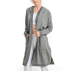 Mono B Grey Longline Hooded Cardigan with Pockets