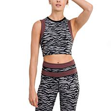 Mono B Printed Crop Top with Back Accent