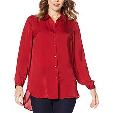 Motto Button-Down Tunic Blouse