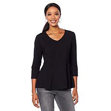 Motto Contour-Seamed V-Neck Peplum Top - Basic