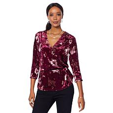Motto Crushed Velvet Printed Surplice Top