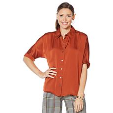 Motto Dolman-Sleeve Satin Button-Down Top