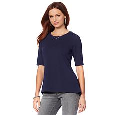 Motto Easy Scoop-Neck Hi-Low Tee - Basic Colors
