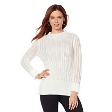 Motto Pointelle Knit Turtleneck Sweater