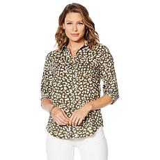 Motto Stretch Chiffon Printed Button-Front Shirt