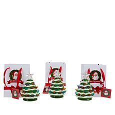 Mr. Christmas Set of 3 Mini Snow-Tipped Nostalgic Trees with Timer
