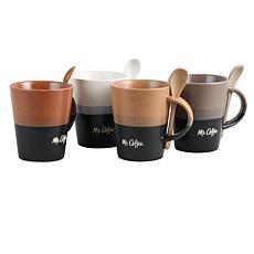 Mr Coffe Café Greco 8 Piece 14 oz. Mugs with Matching Spoons Set