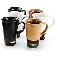 Mr. Coffee Cafe Zortea 6-Pc 16 Oz. Ceramic Mug Set in Assorted Colors