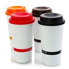 Mr. Coffee Coffee Sensations 4 Pack 16oz Travel Mugs w/ Lids, Assor...
