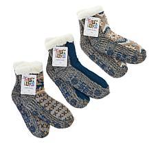 MUK LUKS 3-pack Pieced Cabin Socks