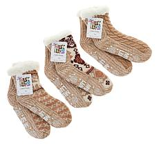 MUK LUKS 3-pack Pieced Cabin Socks