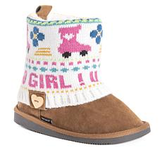 MUK LUKS Patti Kid's Knit Cuff Boot - Pink