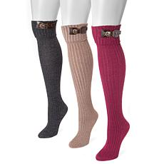 MUK LUKS Women's 3-pack Buckle Cuff Over-the-Knee Socks