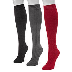 MUK LUKS Women's 3-pack Knee-High Socks