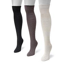 MUK LUKS® Women's 3-Pack Snowflake Knee High Socks