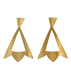 N Natori Brushed Brass Hammered Drop Earrings