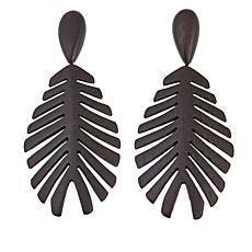 N Natori Curved Acacia Wood Clip-On Drop Earrings