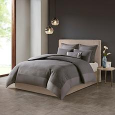 N Natori Hanae Cotton Blend 3-piece Full/Queen Comforter Set - Gray