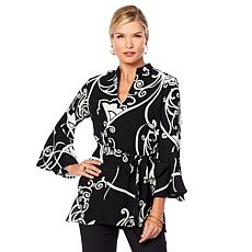 N Natori Printed Crepe Tunic with Sash